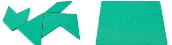 Green tangram educational puzzle