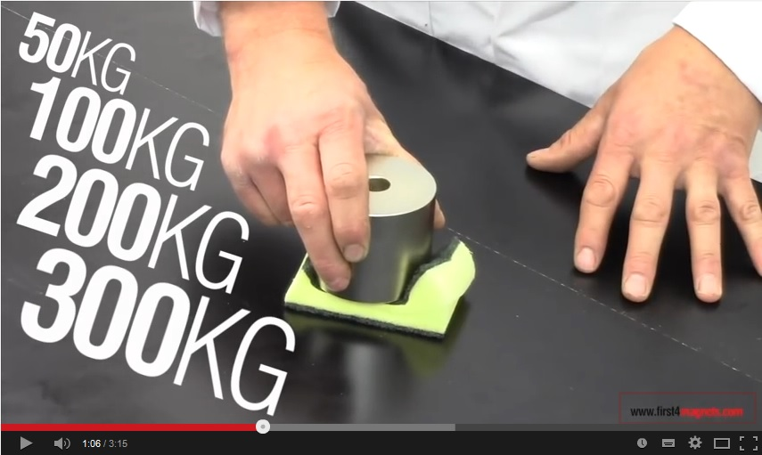 screenshot of YouTube video showing super-strong neodymium magnets