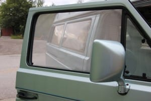 Camper van insect shield. Fixed in place with strong neodymium magnets on the inside of the door.