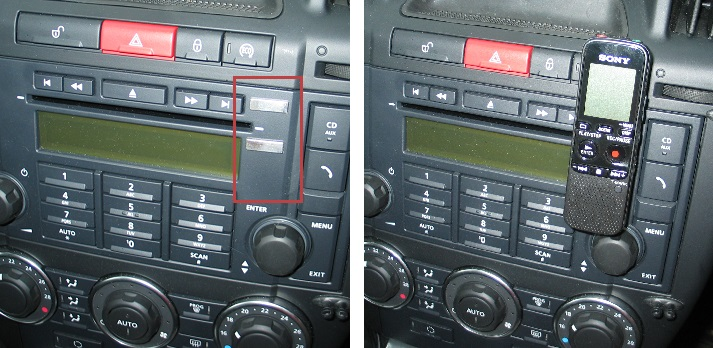 Rectangular self-adhesive neodymium magnets attached to a Land Rover Freelander dashboard to act as a hands free kit for Sony voice recorder