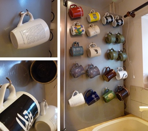 neodymium hook magnets used to hang 20 mugs to the side of a fridge.