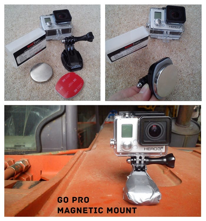 GoPro camera and mount with neodymium magnet for attaching to metal surfaces
