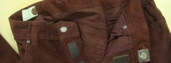 brown corduroy trousers with magnetic button