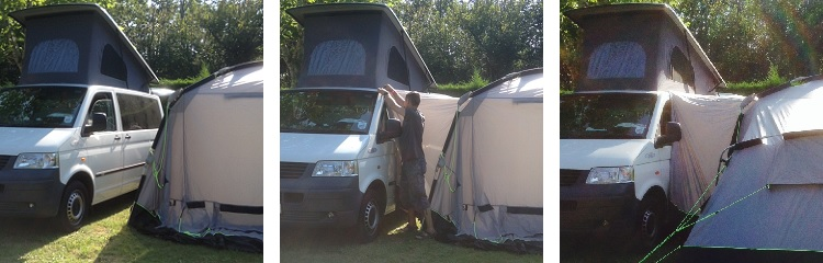 step-by-step photos showing an awning being attached to a VW Transporter using magnets