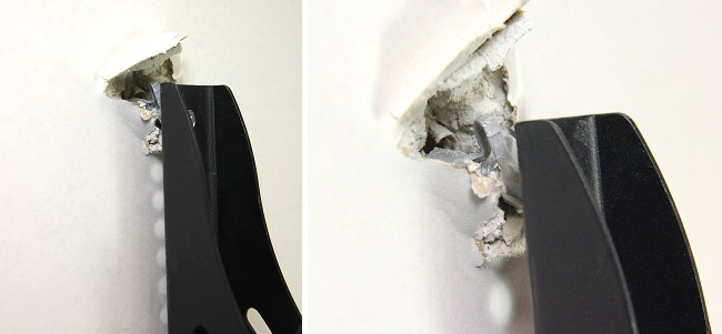 TV bracket hanging out of plasterboard exposing screw and wall plug