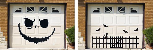 Scary skeleton design on garage door