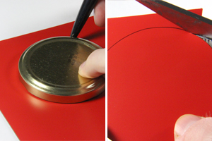 Drawing and cutting a red circle from red magnetic sheet