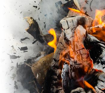 Smouldering bonfire