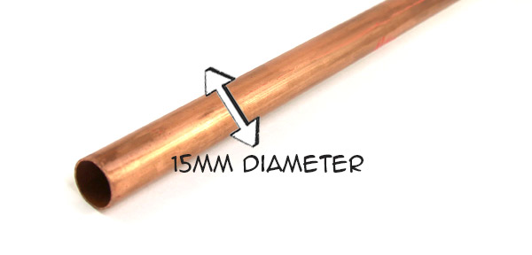 15mm diameter copper pipe