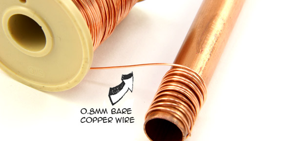 Copper wire coiled around copper pipe