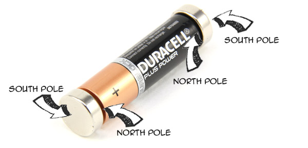 AA battery with one 15mm diameter x 5mm thick neodymium magnet attached to each end.