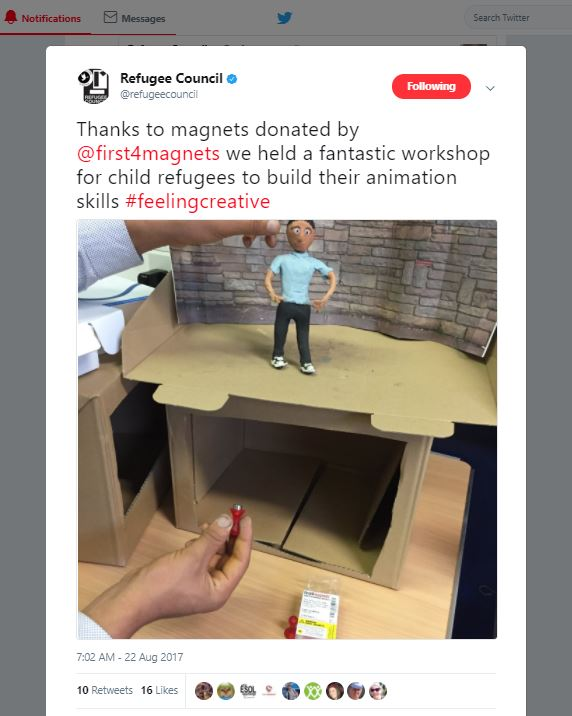 Refugee Council Tweet First4Magnets