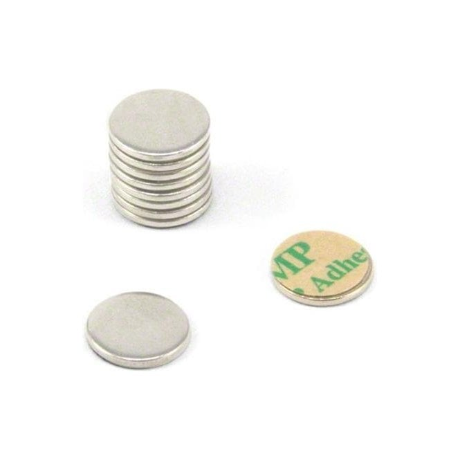 10mm dia x 1mm thick Nickel Plated Mild Steel Disc with 3M Self Adhesive
