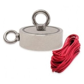 116mm dia x 32mm N42 Neodymium Pot Magnet with 1x M12 and 1x M10 Eyebolt  + 10 metre Rope - 400kg Pull
