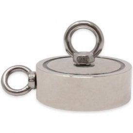 116mm dia x 32mm N42 Neodymium Pot Magnet with 1x M12 and 1x M10 Eyebolt - 400kg Pull (Pack of 1)