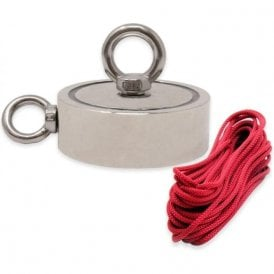 116mm dia x 40mm N42 Neodymium Pot Magnet with 1x M12 and 1x M10 Eyebolt  + 10 metre Rope - 400kg Pull