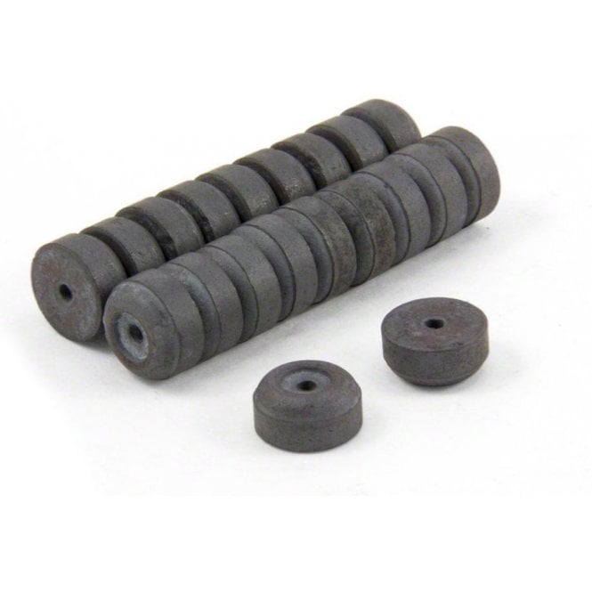12mm O.D. x 2mm I.D. x 6mm thick Y10 Ferrite Magnets - 0.137kg Pull