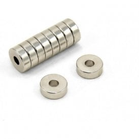 12mm O.D. x 4mm I.D. 4mm thick N42 Neodymium Magnets - 2.5kg Pull