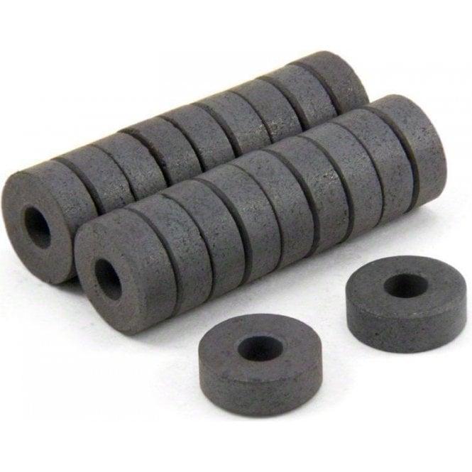 14mm O.D. x 5mm I.D. x 5mm thick Y10 Ferrite Magnets - 0.16kg Pull