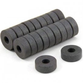 14mm O.D. x 5mm I.D. x 5mm thick Y10 Ferrite Magnets - 0.16kg Pull (Pack of 200)