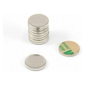 16mm dia x 2mm thick Nickel Plated Mild Steel Disc with 3M Self Adhesive