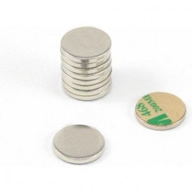 16mm dia x 2mm thick Nickel Plated Mild Steel Disc with 3M Self Adhesive (Pack of 10)
