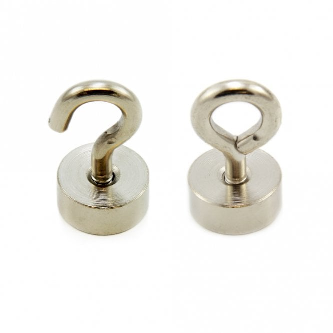 19mm dia Neodymium Clamping Magnet with M5 Hook or Eyebolt - 15kg Pull