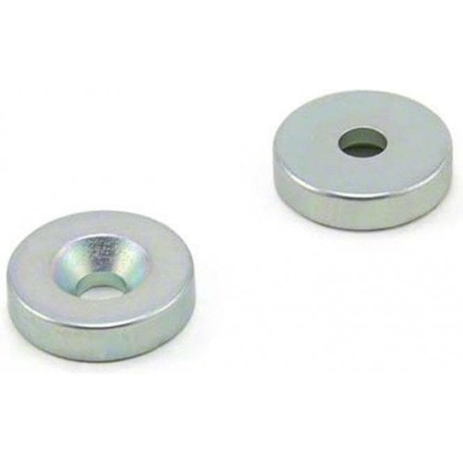 20mm dia x 5mm thick x 5.2mm c/s Zinc Plated N42 Neodymium Magnet - 8.3kg Pull
