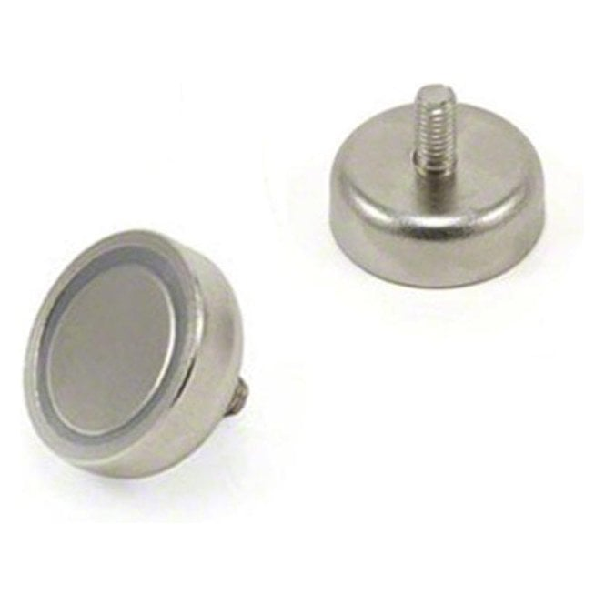 20mm dia x 7mm thick N42 Neodymium Pot Magnet with M4 stud - 15.8kg Pull