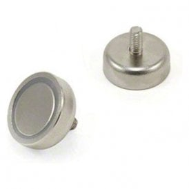 20mm dia x 7mm thick N42 Neodymium Pot Magnet with M4 Stud - 15.8kg Pull ( Pack of 20 )