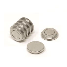 22mm dia x 6mm thick N35 Neodymium Top Hat Pot Magnet - 5.3kg Pull (1 Pack of 6)