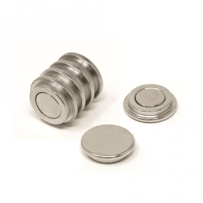 22mm dia x 6mm thick N35 Neodymium Top Hat Pot Magnet - 5.3kg Pull (Pack of 6)