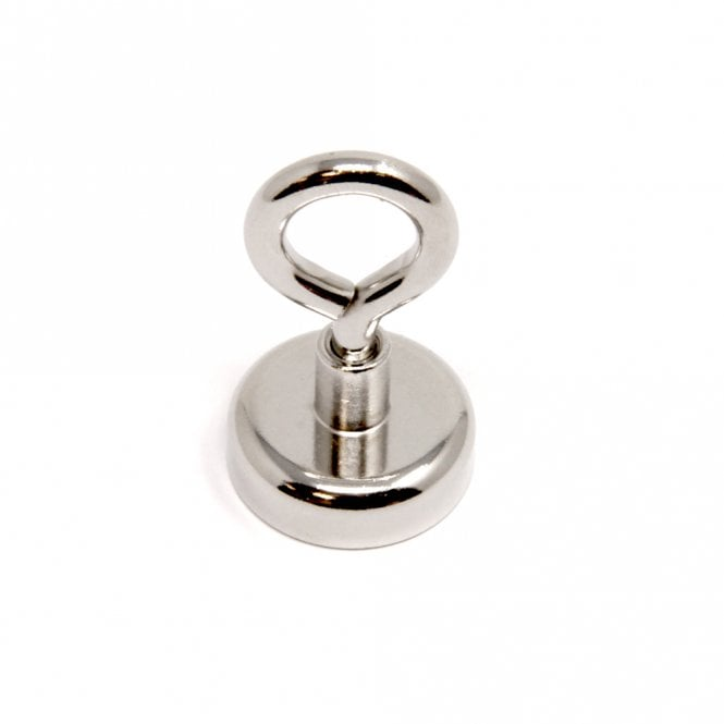 25mm dia Neodymium Clamping Magnet with M5 Eyebolt - Machine Lathed - 24.9kg Pull