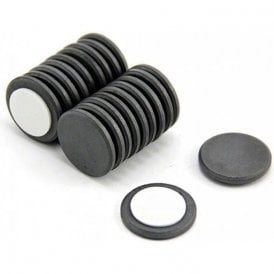 25mm dia x 3mm thick Y10 Ferrite Magnet with Self Adhesive Foam - 0.69kg Pull ( Pack of 20 )