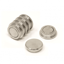 25mm dia x 8mm thick N35 Neodymium Top Hat Pot Magnet - 7.6kg Pull (4 Packs of 6)