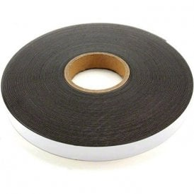 25mm wide x 1.3mm thick Gloss White Ferrous Strip with Self Adhesive ( 5m Length )