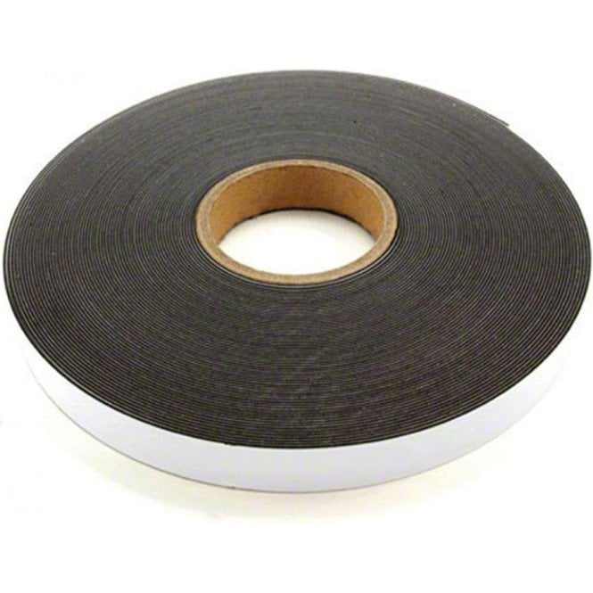 25mm wide x 1.3mm thick Gloss White Ferrous Strip with Self Adhesive