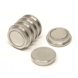 30mm dia x 8mm thick N35 Neodymium Top Hat Pot Magnet - 22kg Pull (4 Packs of 6)
