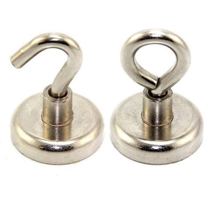 32mm dia Neodymium Clamping Magnet with M6 Hook or Eyebolt - 36.4kg Pull