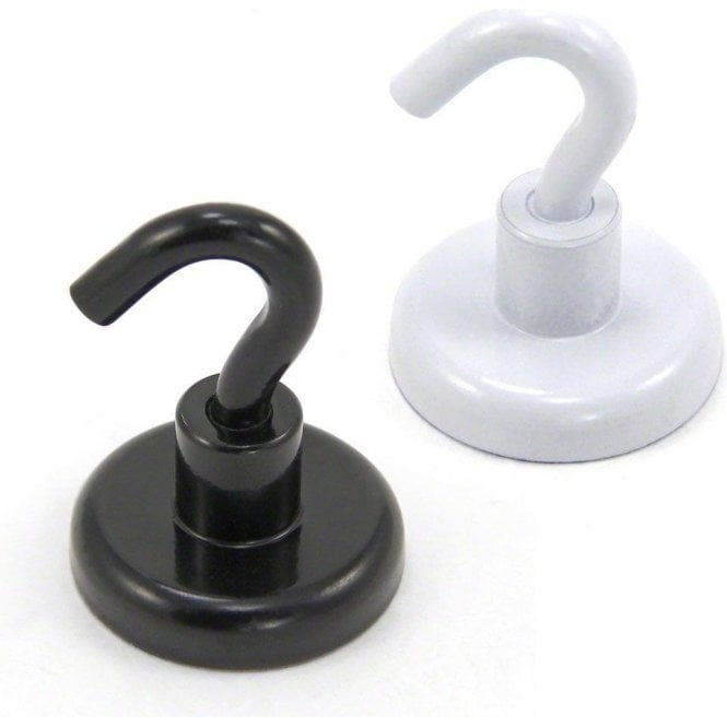 32mm White or Black Painted Neodymium Hook Magnet with M4 Hook - 36.4kg Pull