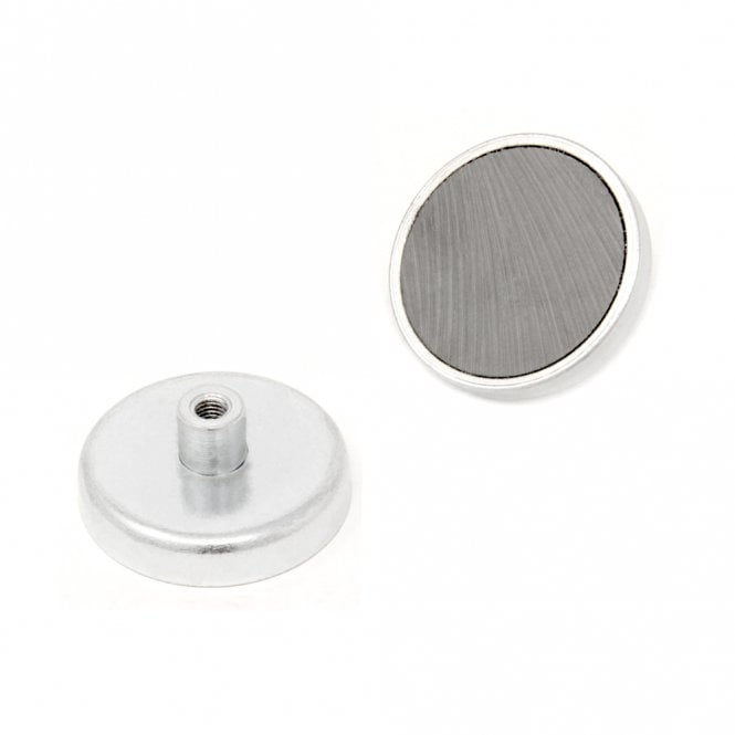 40mm dia x 8mm thick Ferrite Pot Magnet with M5 Internal Thread - 5.9kg Pull
