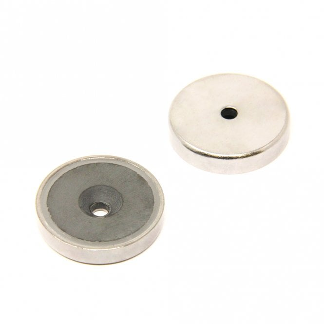 40mm dia x 8mm thick x 5mm c/sink Ferrite Y30BH Pot Magnet - 15kg Pull