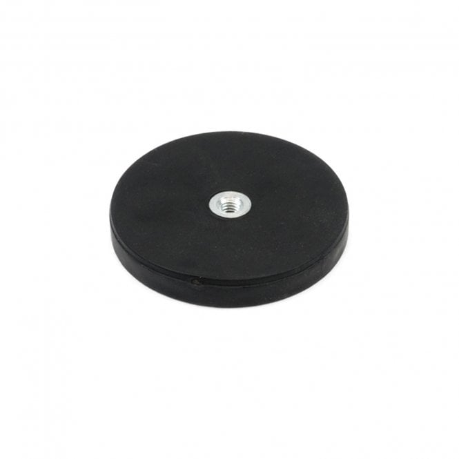 43mm dia x 6mm high Rubber Coated POS Magnet c/w M4 Boss Thread (Flush x 3mm deep) - 8kg Pull