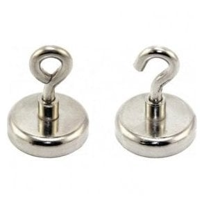 48mm dia Neodymium Clamping Magnet with M8 Hook or Eyebolt - 95kg Pull