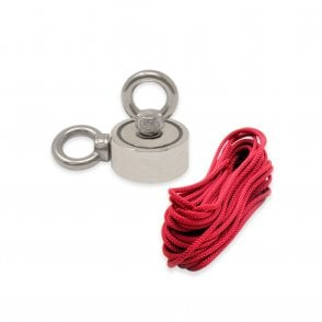 48mm dia x 18mm thick N42 Neodymium Pot Magnet with 2x M8 Eyebolts + 10 metre Rope - 80kg Pull