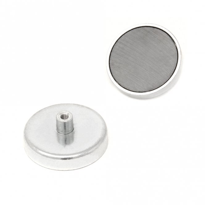 50mm dia x 10mm thick Ferrite Pot Magnet with M5 Internal Thread - 22.5kg Pull