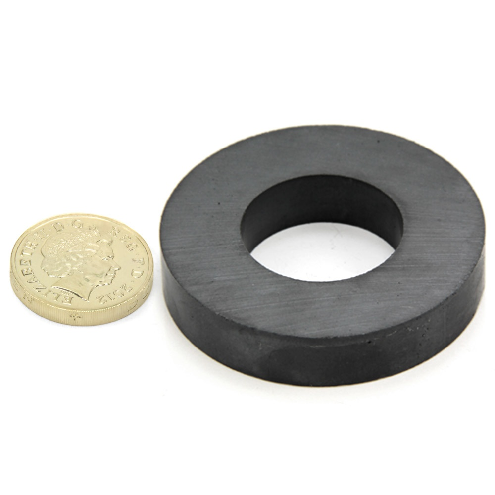 5kg Pull Pack of 10 50mm O.D x 25mm I.D x 10mm Y30BH Ferrite Ring Magnet
