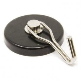 52mm dia Ferrite Pot Magnet with Swivel Hook - 8.7kg Pull