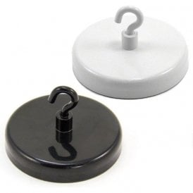 57mm dia Ferrite White or Black Painted Clamping Magnet with M4 Hook  - 25kg Pull