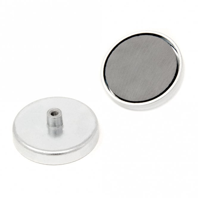 57mm dia x 10mm thick Ferrite Pot Magnet with M5 Internal Thread - 29.7kg Pull
